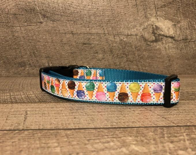 "The Jerry | Ice Cream Cones| Designer 1"" Width Dog Collar | CupcakePups Collars | Medium/Large Dog Collar"