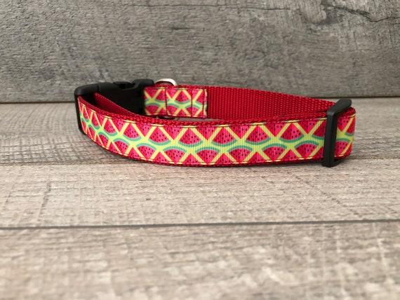 "Brand New Summer Watermelon | Designer 1"" Width Dog Collar | CupcakePups Dog Collars | Medium/ Large Dog"