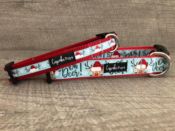 "oh Deer {Blue} | Designer 1/2"", 3/4"" and 1"" Width Dog Collar | CupcakePups Dog Collars | deer/santa hats"