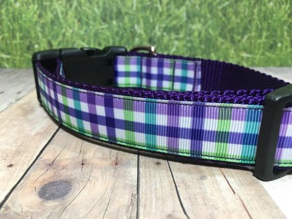 "The Rhea | Designer 1"" Width Dog Collar | CupcakePups Collars | Purple Plaid - Medium/Large Dog Collar"