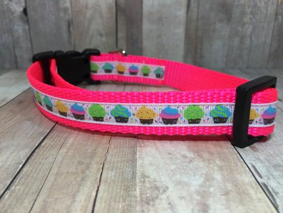 "The Mini Cupcakes | Designer 3/4"" Width Dog Collar | CupcakePups Collars | Cupcakes | Small/Medium Dog Collar"