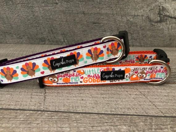 "New Fall | Designer 1"" Width Dog Collar | CupcakePups Dog Collars | Gobble till ya Wobble and Turkeys"