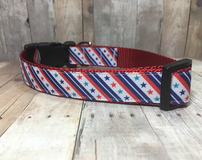 "The Alexander | Designer 1"" Width Dog Collar | CupcakePups Collars | Stars and Stripes | Medium/Large Dog Collar"