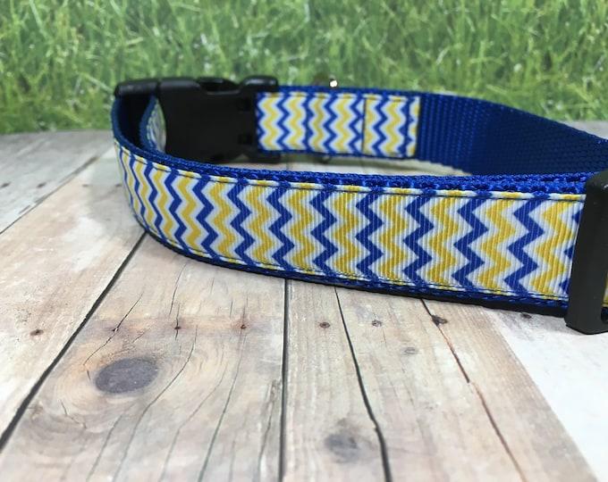 "The Plato   Designer 1"" Width Dog Collar   CupcakePups Collars   Canine Companions Blue and Yellow Zig-zag - Medium/Large Dog Collar"