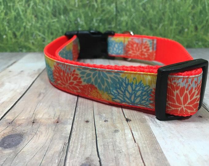"The Sansa - Designer 1"" Width Dog Collar -  CupcakePups Dog Collars - Bright Orange, Blue, and Yellow Dahlias on Orange Nylon Webbing"
