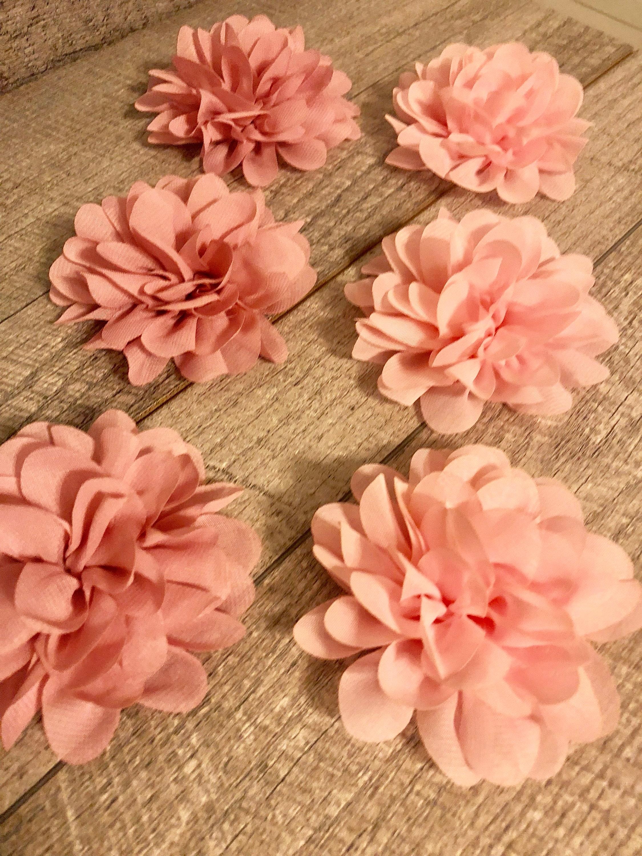 4 Light Pink Or Rose Pink Chiffon Flower Flower For Dog Collar