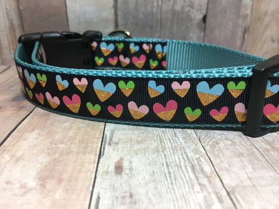 "Gold Foil Hearts | 1"" Valentine's Dog Collar 