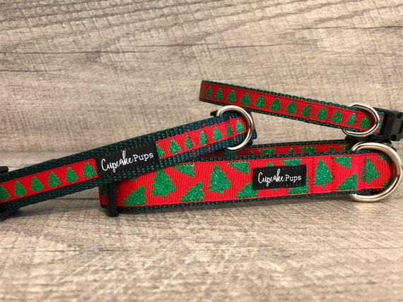 "The Christmas Tree | Designer 1/2"", 3/4"" and 1"" Width Dog Collar | CupcakePups Dog Collars | Tree"