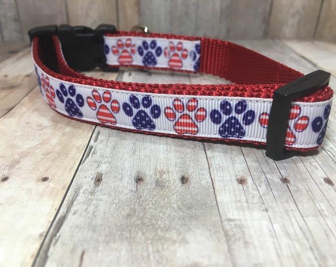 "The Patriot II | Designer 3/4"" Width Dog Collar | CupcakePups Collars | Fourth of July | Paw Prints - Small/Medium Dog Collar"