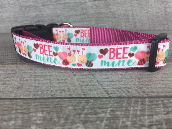 "Bee Mine | Designer 1"" Width Dog Collar 