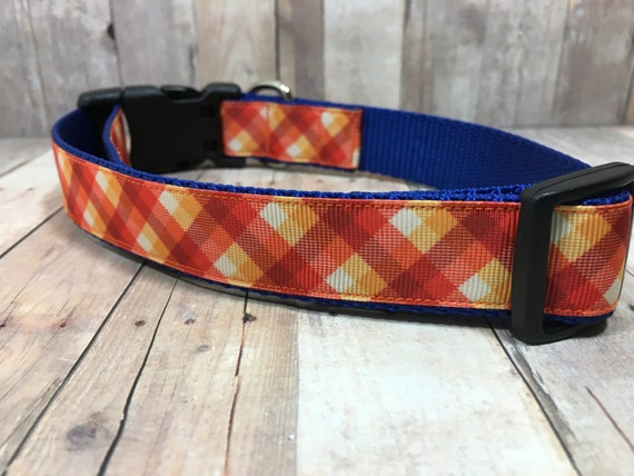 "The Howell | Designer 1"" Width Dog Collar | CupcakePups Collars | Fall Plaid | Medium/Large Dog Collar"