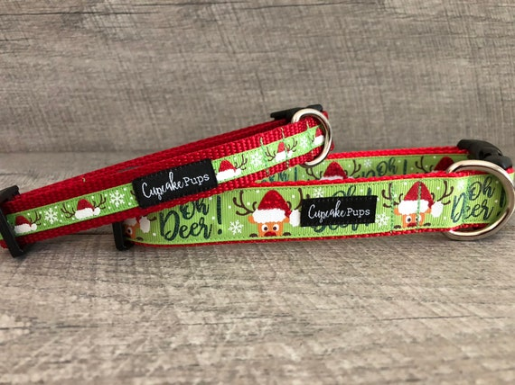 "oh Deer {Green} | Designer 1/2"", 3/4"" and 1"" Width Dog Collar | CupcakePups Dog Collars | deer/santa hats"