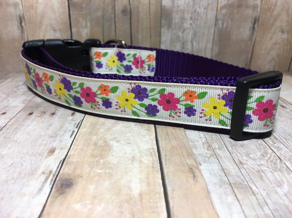"The Harvest Flowers | Designer 1"" Width Dog Collar | CupcakePups Dog Collars | Fall Dog | Fall Flowers | Country Chic"