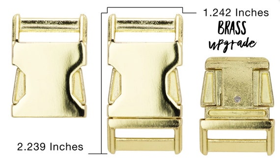 "UPGRADE to Brass Plates Side Release Buckle for 1"" Collar - CupcakePups Dog Collars"