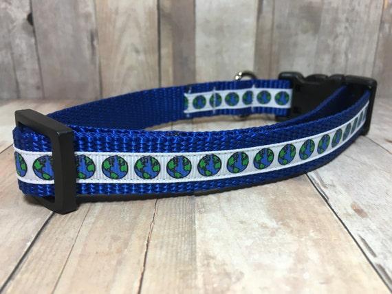 "The Earth II | Designer 3/4"" Width Dog Collar | CupcakePups Collars | Small/Medium Dog Collar"