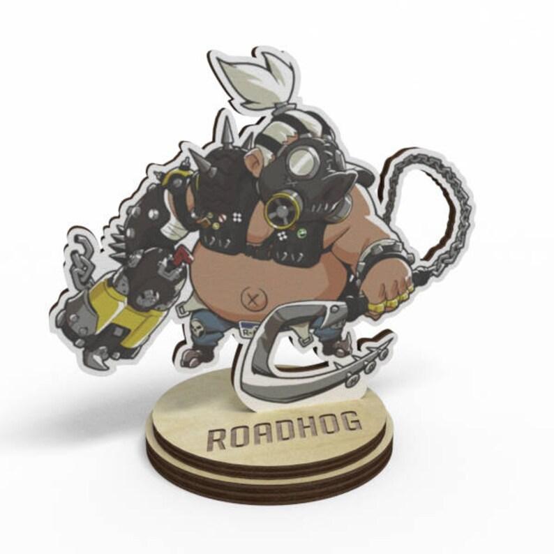 Overwatch Roadhog Wood Figure On A Stand