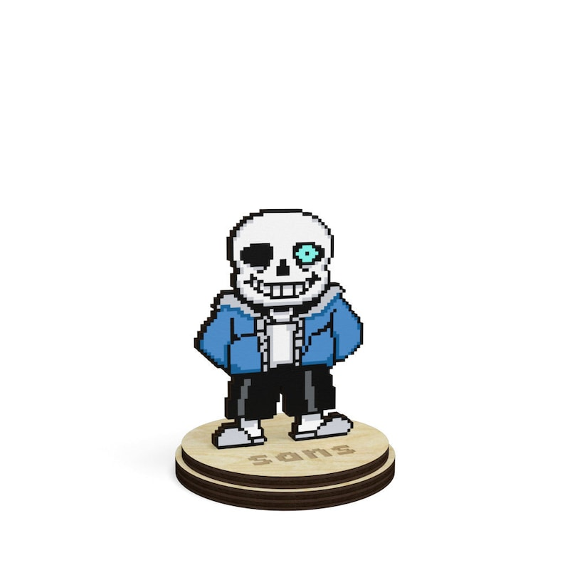 Undertale BAD TIME Sans the Skeleton Undertale collectible game souvenir on  a stand