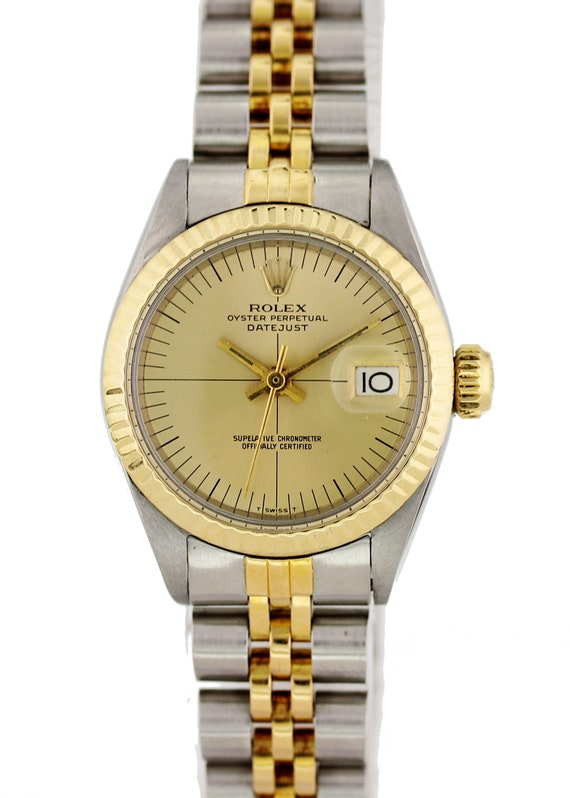 4558277d144 Ladies Rolex Oyster Perpetual Date 6917 18k Yellow Gold