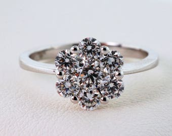Stunning Floral-Themed Diamond Engagement Ring in 18k White Gold