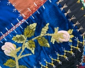 OUTSTANDING Crazy Quilt Navy Blue Satin with Velvet Fans and Feathers Feather Stitching Turn of the Century Fabric Wall Hanging