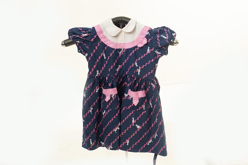 1950s Vintage Cat Dress Kitty Dress for Little Girl 3T 1940s child fashion