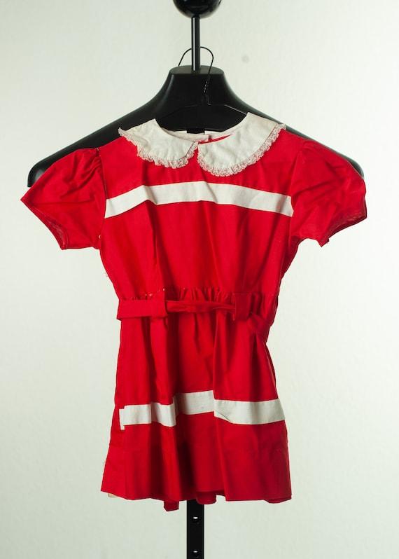 Medium Vintage 40s Red Satin Dress and Shorts Set with White Fringe and Rabbit Fur Trim Baton 1940s Magnificent Majorette Costume