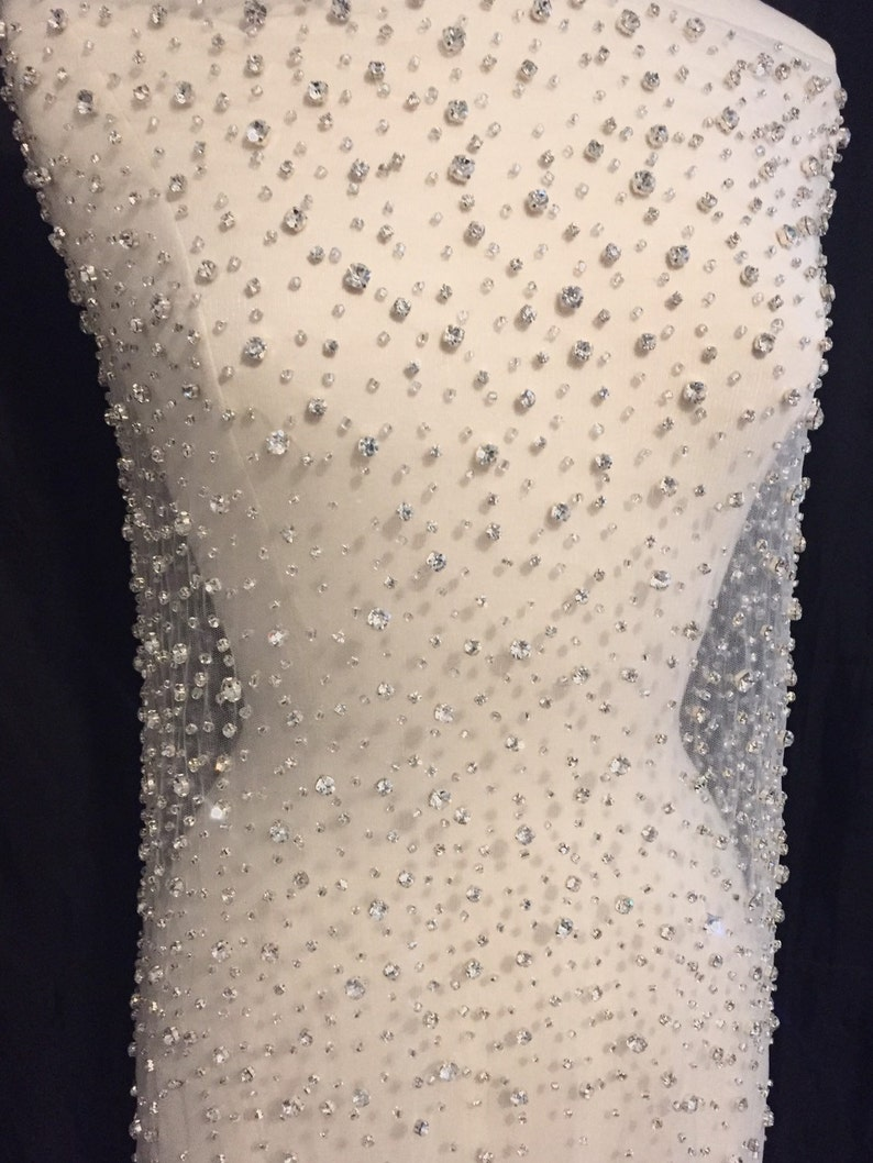 Rhinestone Beaded Tulle Fabric Rhinestone Fabric Beaded image 0