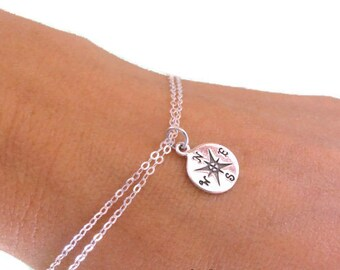 Compass charm bracelet, Graduation gift bracelet