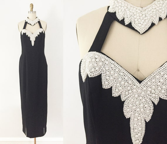 80s Black High Neck Pearl Beaded Long Gown