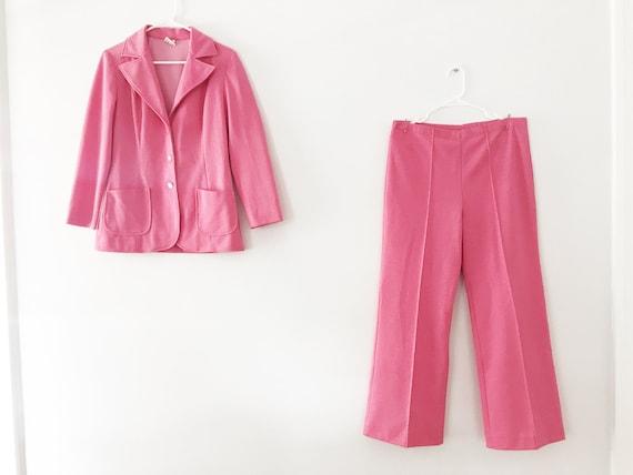 Vintage Pink Knit Pant Suit