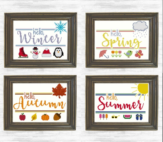 Winter Spring Summer Autumn Fall Cross Stitch Patterns, Seasonal Cross  Stitch, Hello Seasons Counted Cross Stitch Pattern -- FOUR PATTERNS