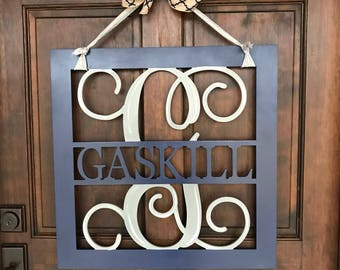 Family name with  MONOGRAM Wall Hanging - Painted Wood Cutout - Wreath FRAMED - Door Hanger  - Wedding Monogram - est