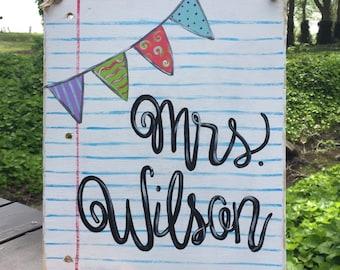 Teacher Name Sign Classroom Decor Notebook Paper