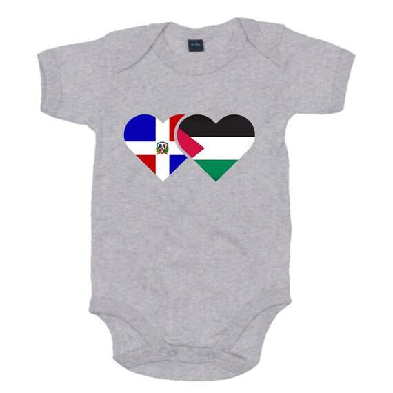 Personalised Flag Babygrow Newborn Baby Gift New Mum Gift Heart Babygrow Mum and Dad Mixed Race Baby Gift