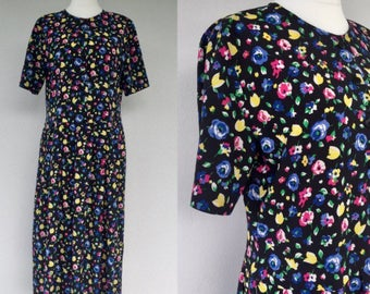 8144d128c398 Vintage 80s Black Summer Floral Dress, Day Dress, 1980s Floral Dress, Size  16 UK Plus Size