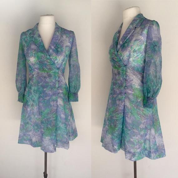 Vintage 70s Green Floral Dress, Boho Dress, Weddin