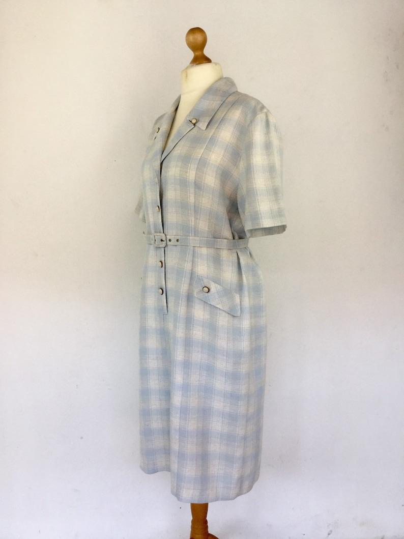 Boho Dress Half Sleeve Dress Size 16 18 UK Vintage 80s Blue Boho Check Dress Blue White Check Plus Size Dress Plaid Dress