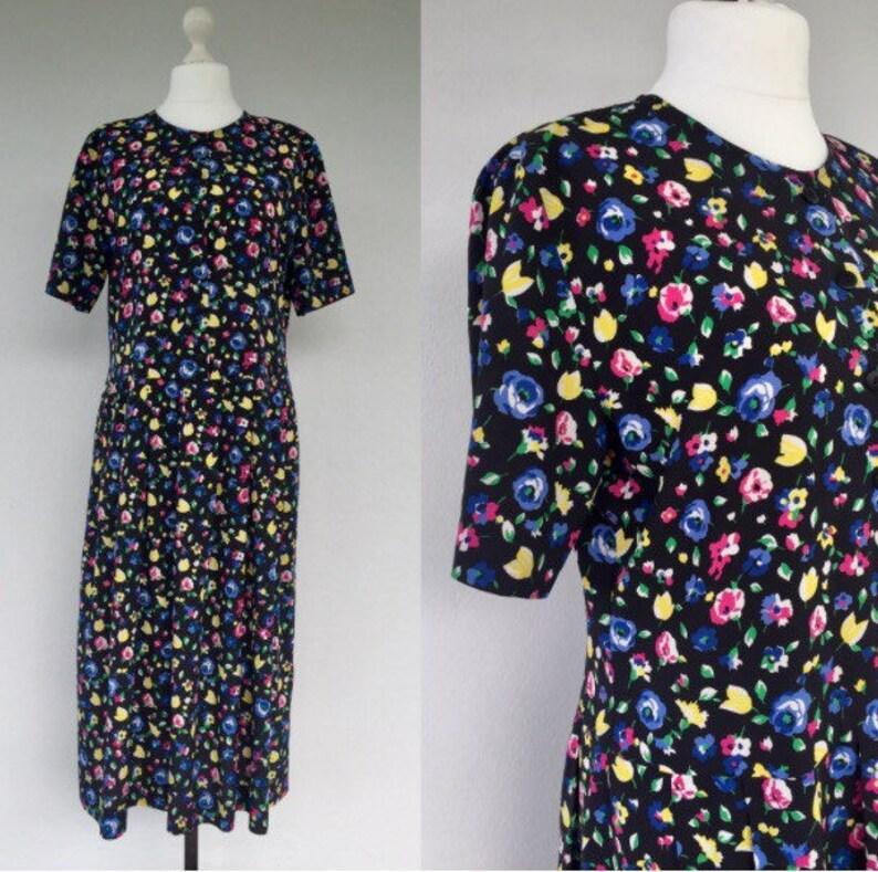 98e1e17d25d3 Vintage 80s Black Summer Floral Dress Day Dress 1980s Floral | Etsy