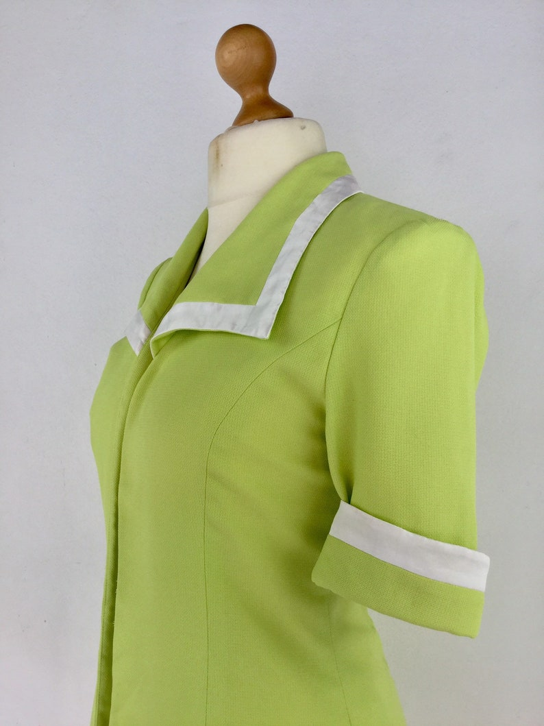 Overshirt Jacket Vintage 90s Ladies Lime Green 12 Sleeve Fitted Blazer Size 14 UK