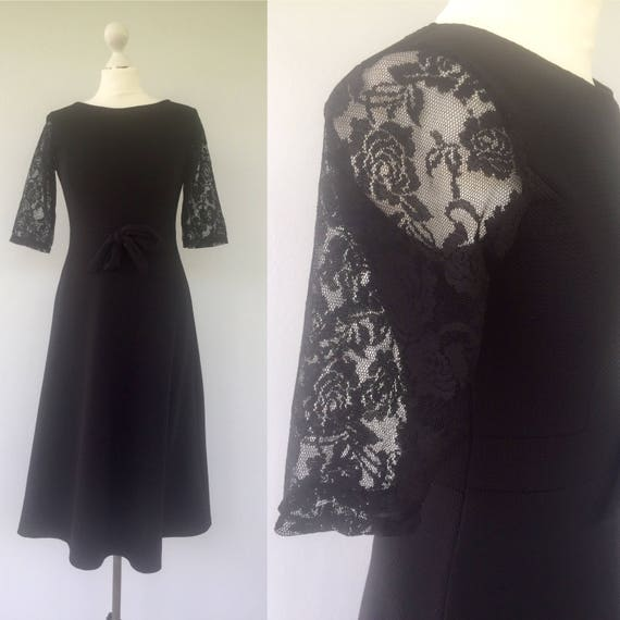 Vintage Black 60s Style Dress Black Lace Dress Bow Dress Etsy