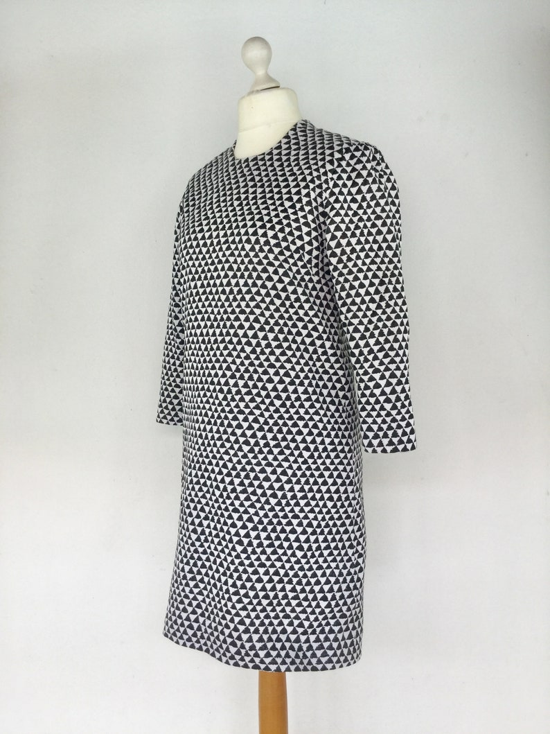 60s Style Shift Dress Vintage 90s Black White Mod Dress Size 14 UK Retro Dress