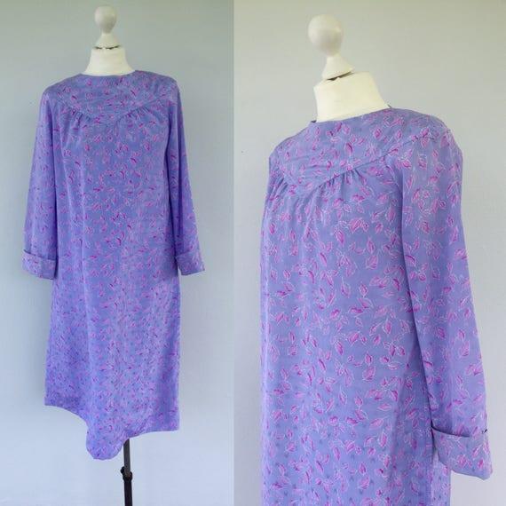 Vintage 80s Summer Tent Dress, Retro Flower Dress, Lilac Dress, Hipster Dress, Wedding Dress, Long Sleeved Dress, Size 12 14 UK