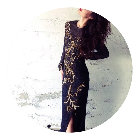 90s Long Gold And Black Beaded Dress Etsy