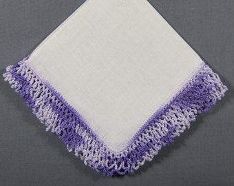 Purple and Lilac Crochet Lace Trim on White Linen Vintage Hankie Handkerchief