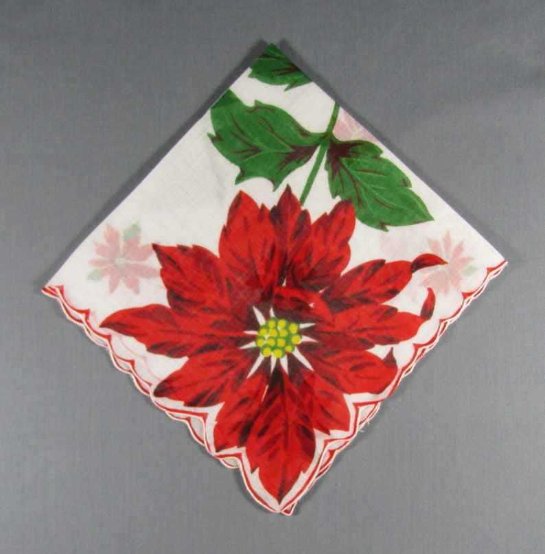 Large Red Poinsettia In Corner and Scattered Red Poinsettias on White  Cotton Vintage CHRISTMAS Hankie Handkerchief