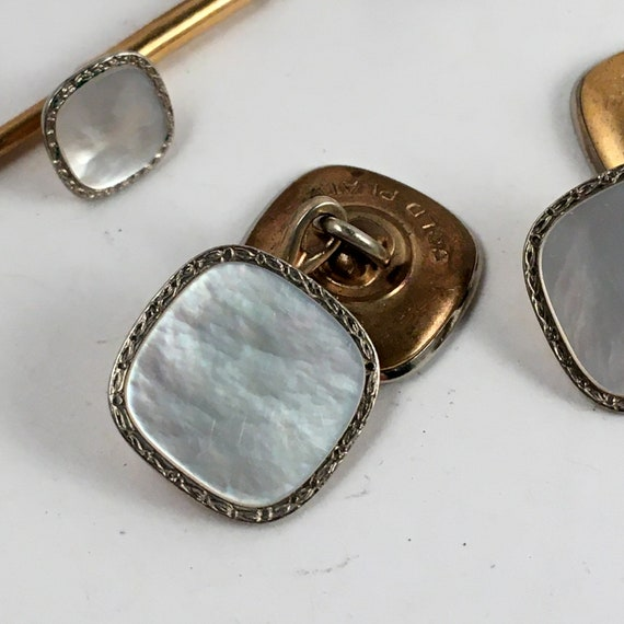 Vintage Swank Gold Plate Cuff Link Shirt Stud Tuxedo Set Mother of Pearl Abalone