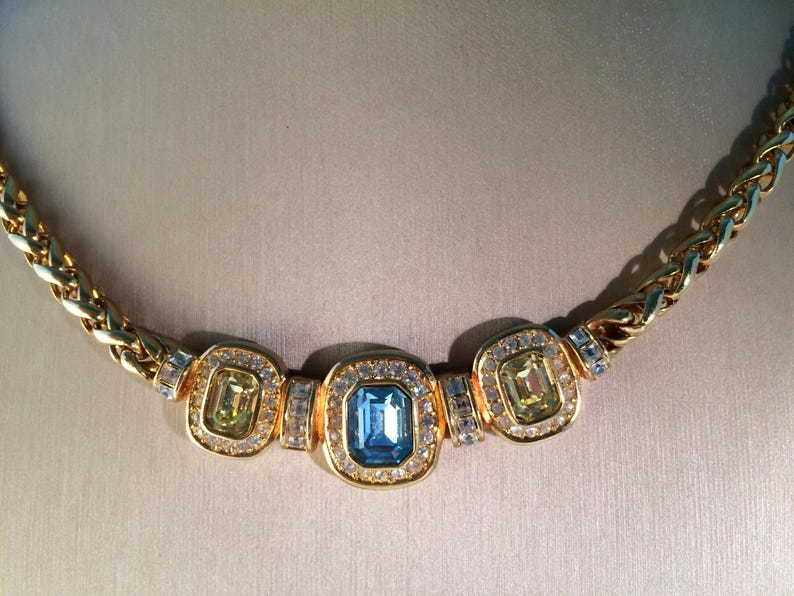 c7209adb64b60 Christian Dior Choker Necklace, 1960's Art Deco Inspired Bib/Collier, Blue  Topaz, Peridot & Square Crystals, Gold-Tone Wheat Chain, Vintage