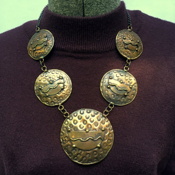 Artisan Crafted Copper Weave Necklace Vintage 1980 Statement Jewelry
