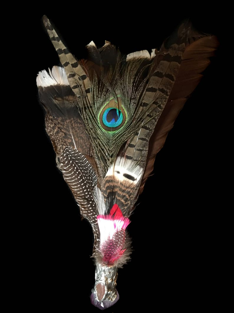 Smudging fan turkey pheasant and peacock feathers. Amethyst image 0