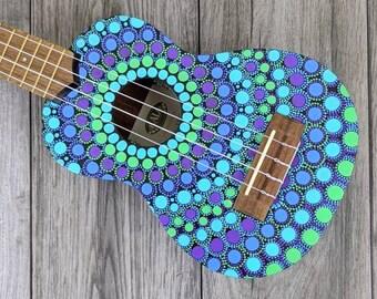 Hand Painted Mandala Custom Ukulele / Personalized Kala Soprano Ukulele / Music Gifts / Ukulele Accessories / Boho Wall Art